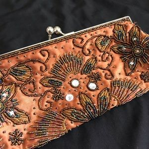 Beaded clutch Bisou Bisou Michele Bohbot copper